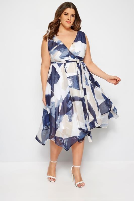 Plus Size Chiffon Dresses Navy & White Abstract Wrap Dress With Hanky Hem