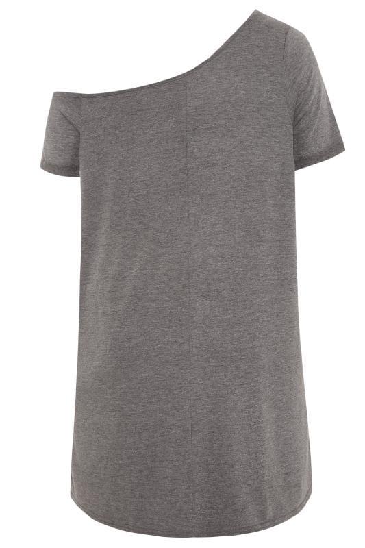 Grey Rock Slogan Off The Shoulder Dress