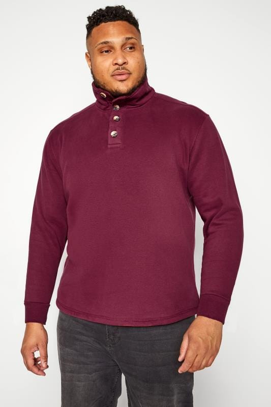 Plus Size Sweatshirts OLD SALT Burgundy Funnel Button Sweatshirt