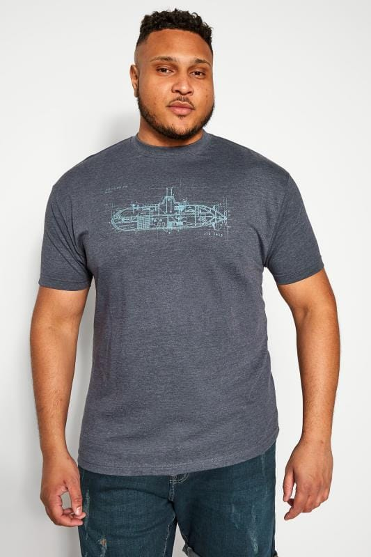 Plus Size T-Shirts OLD SALT Navy Graphic Print T-Shirt