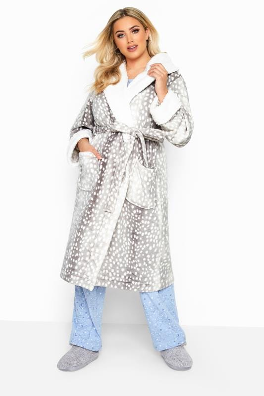Dressing Gowns dla puszystych Grey Spotted Faux Fur Dressing Gown