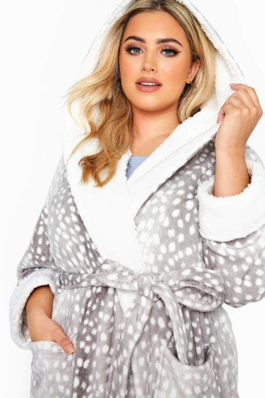 Grey Spotted Faux Fur Dressing Gown