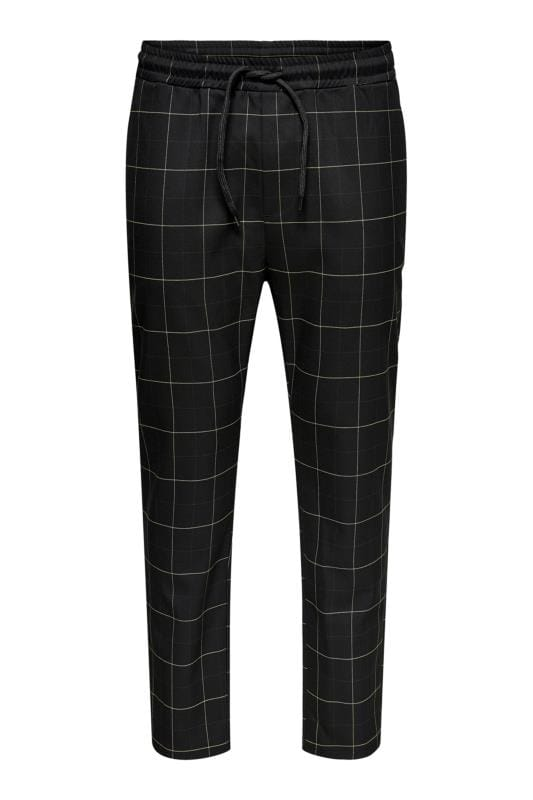 Plus Size Elasticated Waistband Trousers ONLY & SONS Black Check Trousers