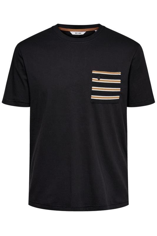T-Shirts Grande Taille ONLY & SONS Black Pocket T-Shirt