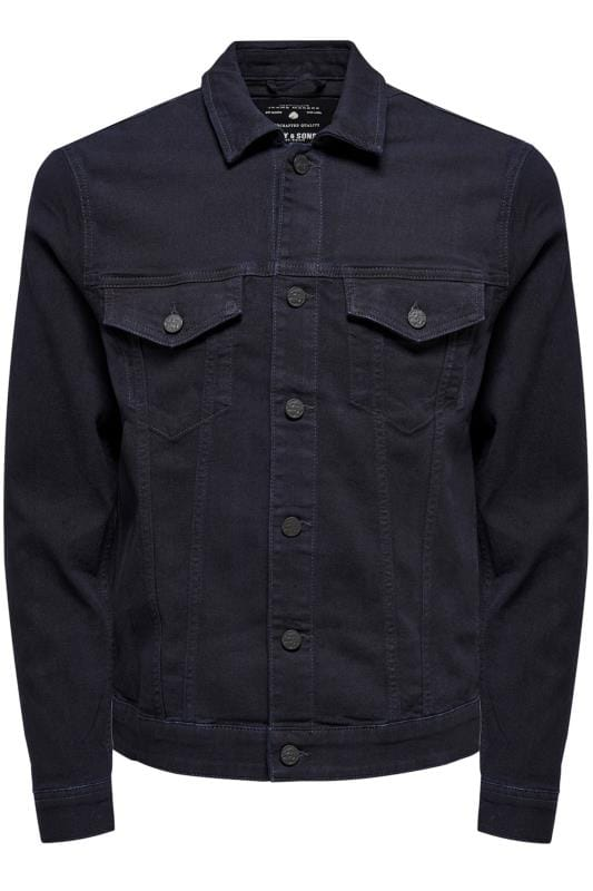 Plus Size Hats ONLY & SONS Navy Denim Jacket