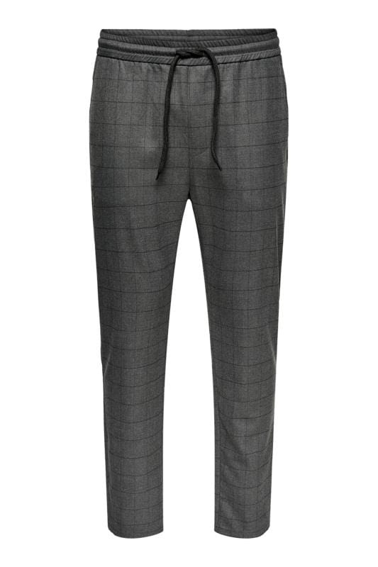 Plus Size Elasticated Waistband Trousers ONLY & SONS Grey Check Trousers