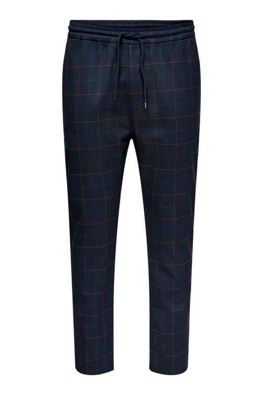 Plus Size Elasticated Waistband Trousers ONLY & SONS Navy Check Trousers