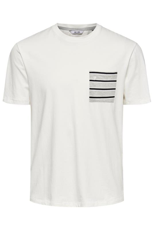 Plus Size T-Shirts ONLY & SONS White Pocket T-Shirt
