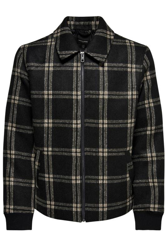 Plus Size Jackets ONLY & SONS Brown Check Brushed Flannel Jacket
