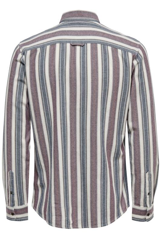 ONLY & SONS Navy & Red Striped Shirt