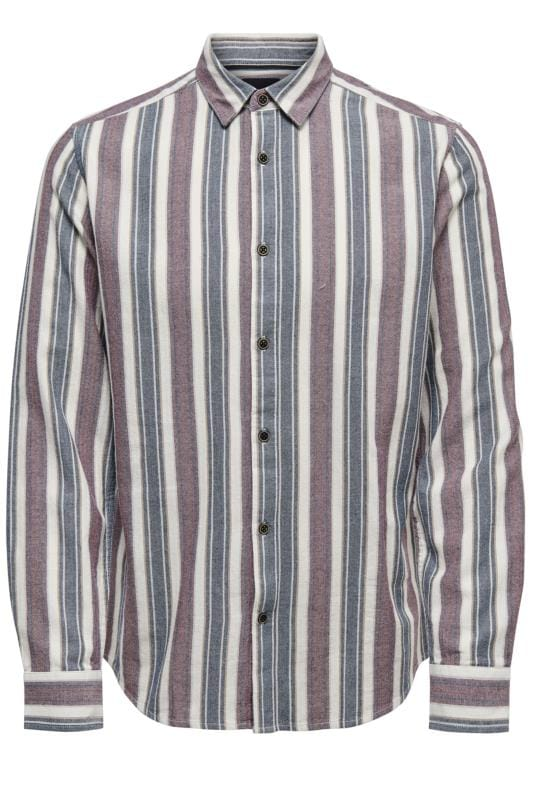 Casual Shirts ONLY & SONS Navy & Red Striped Shirt 202119