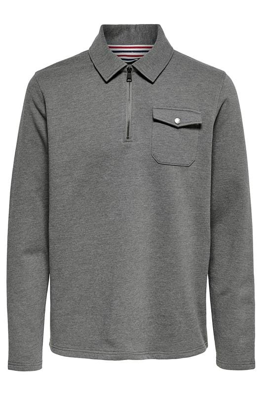 Sweatshirts ONLY & SONS Grey Half Zip Sweatshirt 202115