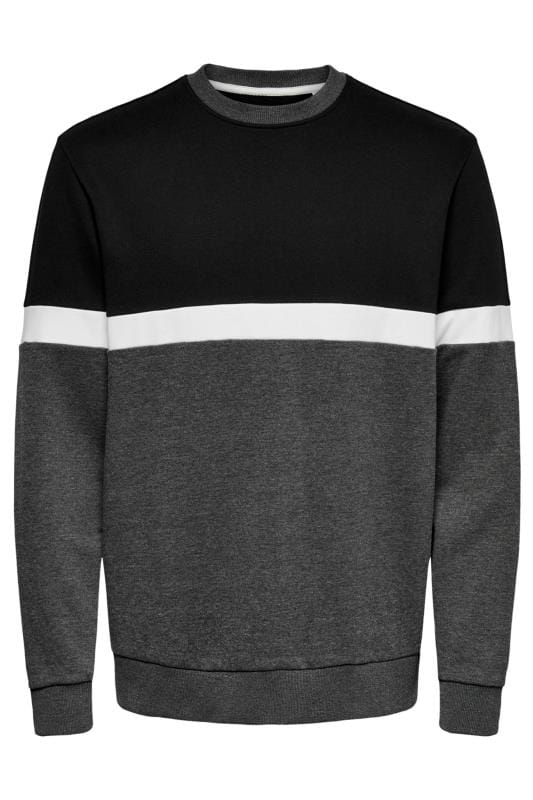 Plus Size Sweatshirts ONLY & SONS Black Colour Block Crew Neck Sweatshirt