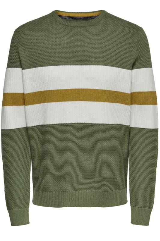 Jumpers Tallas Grandes ONLY & SONS Green Stripe Jumper