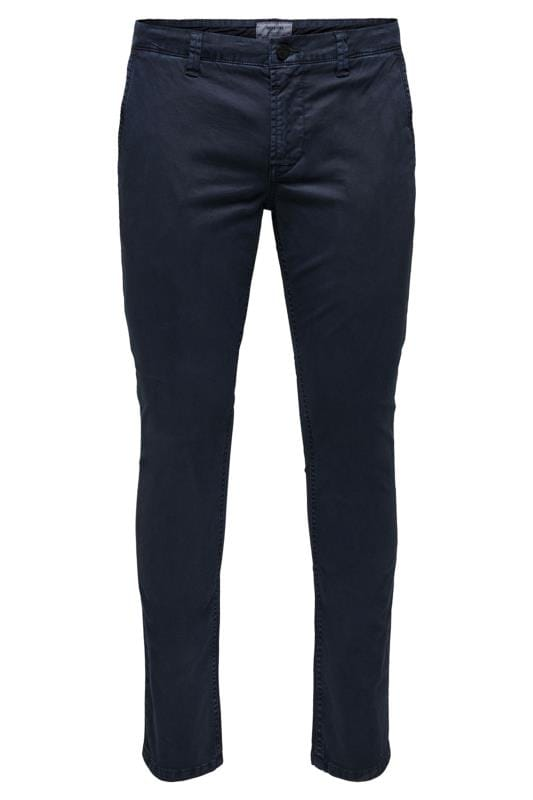 Plus Size Chinos & Cords ONLY & SONS Navy Chinos