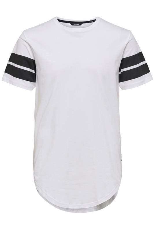 Plus Size Casual / Every Day ONLY & SONS White Short Sleeve T-Shirt