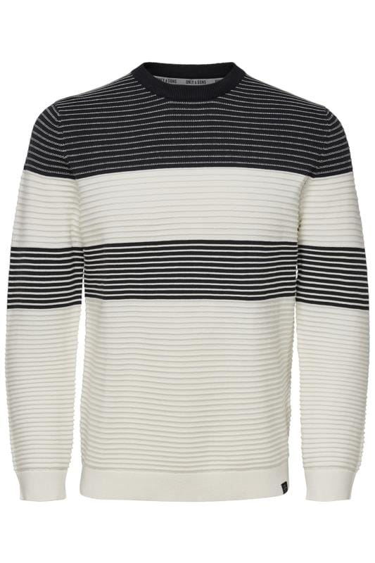 Plus Size Casual / Every Day ONLY & SONS White Stripe Knitted Jumper