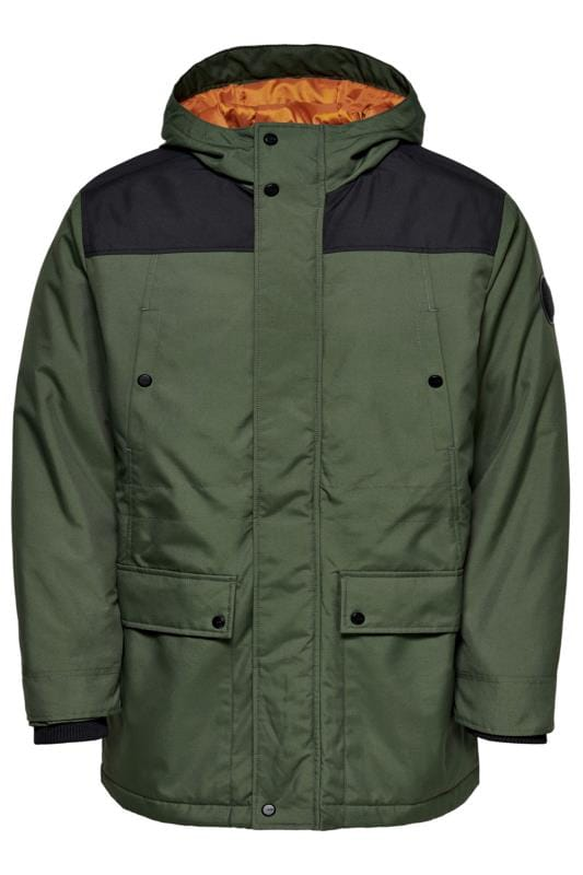 Plus Size Coats ONLY & SONS Khaki Peter Parka Coat