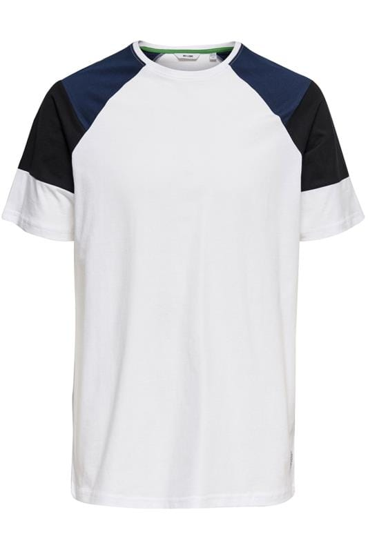 Plus Size Casual / Every Day ONLY & SONS White Raglan T-Shirt