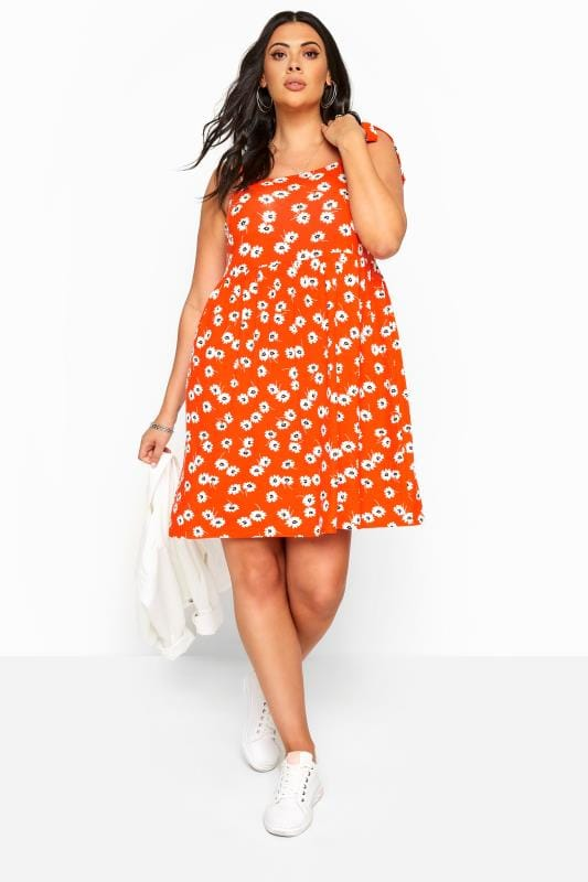 Plus Size Jersey Dresses Orange Floral Print Smock Dress