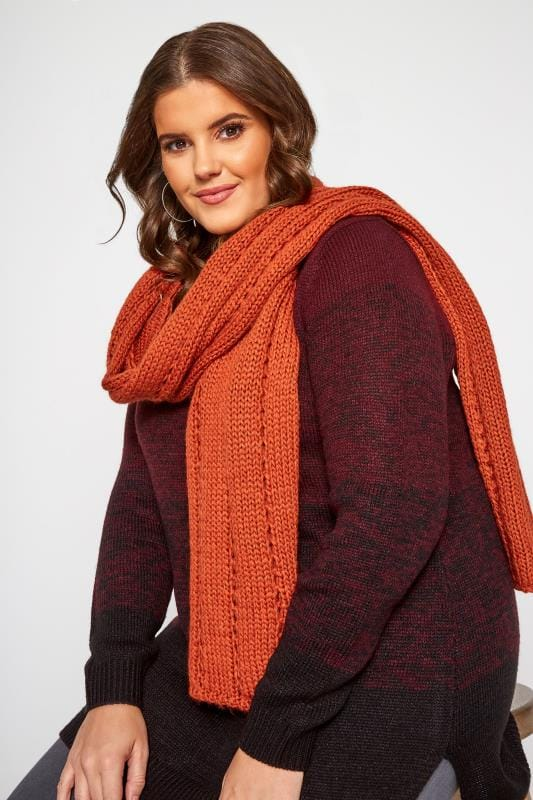 Plus Size Scarves Orange Knitted Scarf