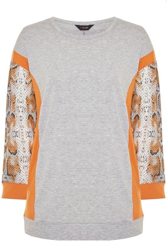 Grey & Orange Snake Print Trim Sweatshirt