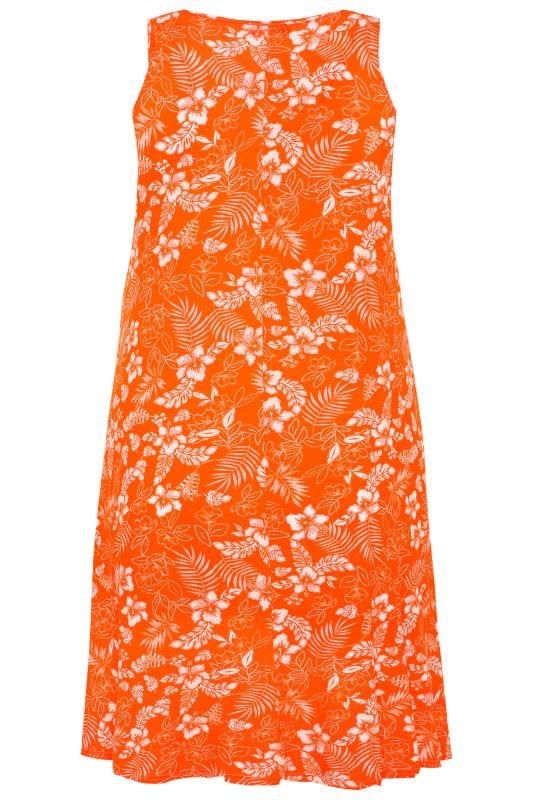 Orange Tropical Floral Sleeveless Drape Pocket Dress