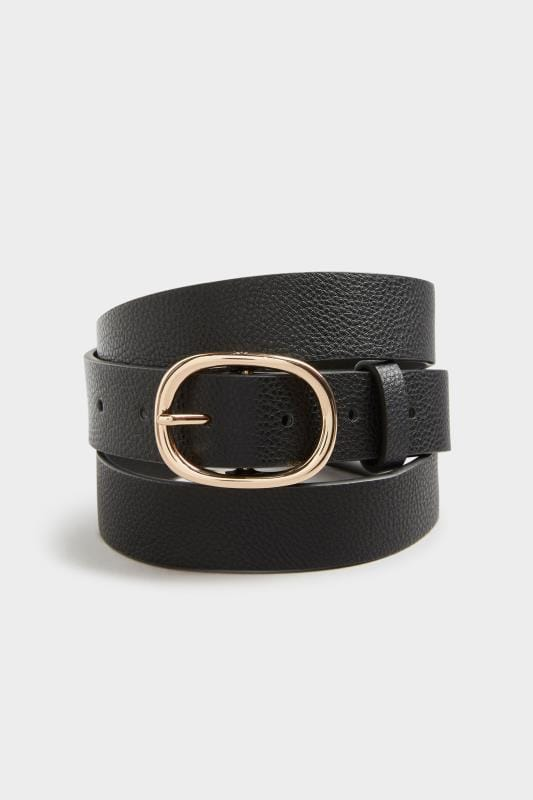 Black Textured Oval Buckle Belt