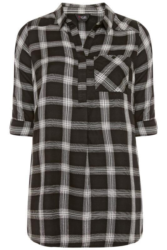 Plus Size Shirts Black, White & Bronze Metallic Check Shirt