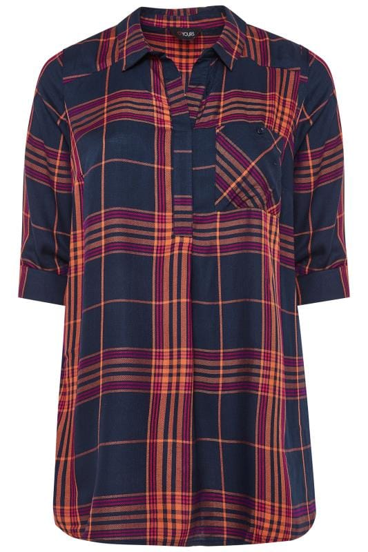 Plus Size Checked Shirts Navy and Orange Overhead Check Shirt