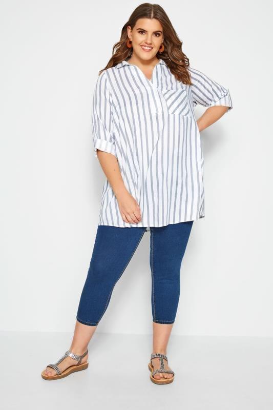 White & Blue Overhead Striped Shirt