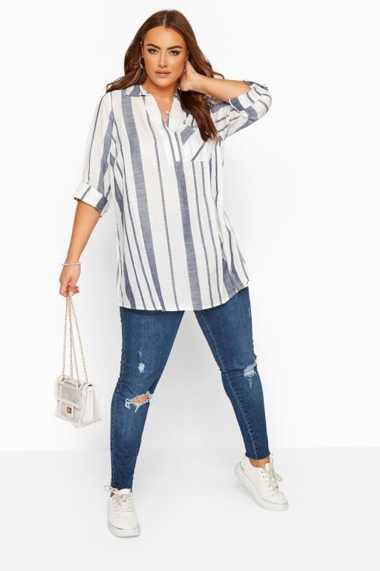 White & Blue Stripe Overhead Shirt