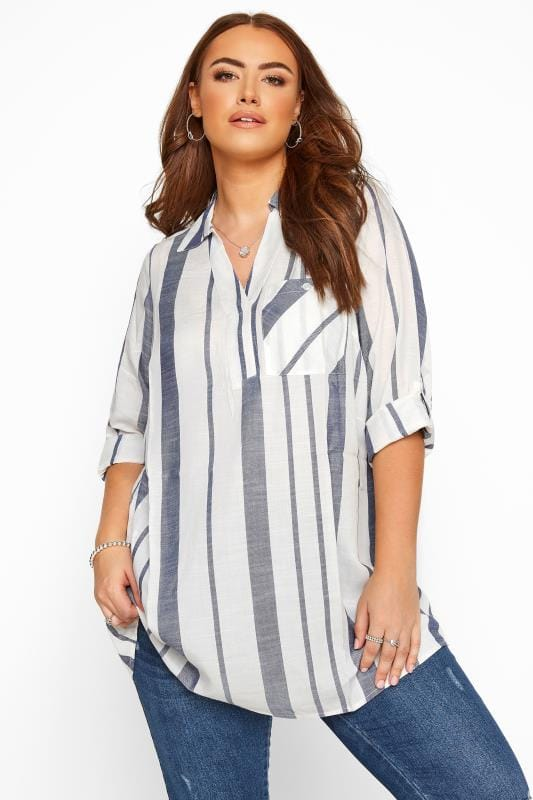 Plus Size Blouses & Shirts White & Blue Stripe Overhead Shirt