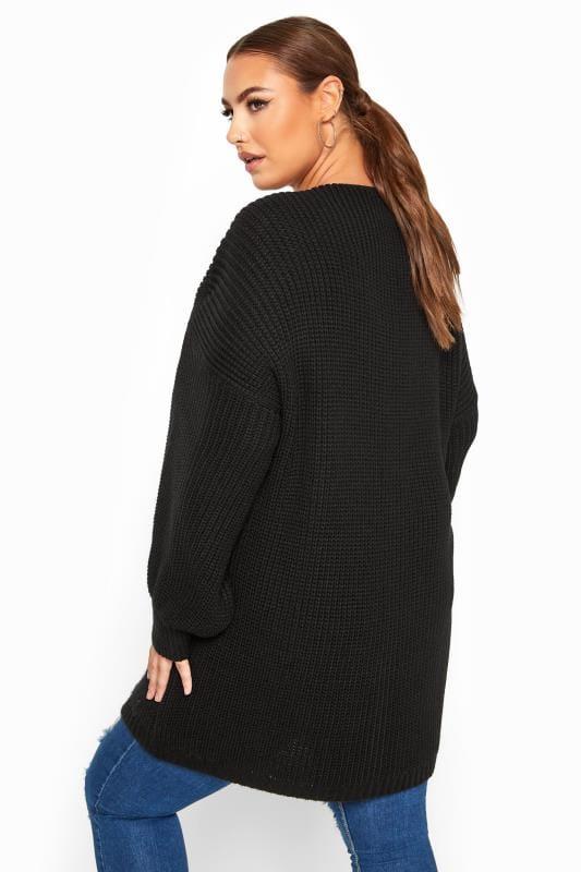 Black Oversized Balloon Sleeve Knitted Cardigan