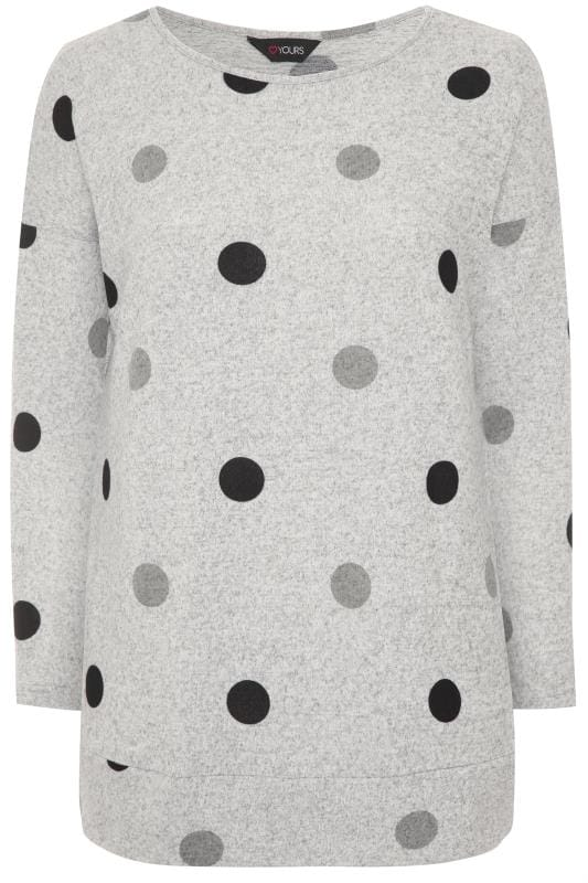 Grey Spot Knitted Top