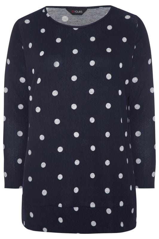 Navy Spot Knitted Top