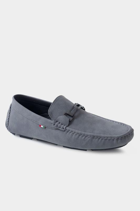 Footwear D555 Grey Slip On Moccasin Loafers