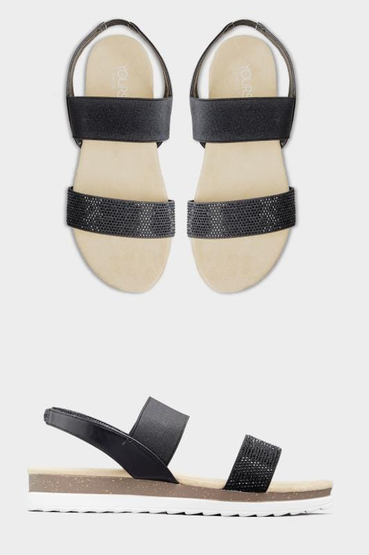 Black Embellished Comfort Sandals In Extra Wide Fit
