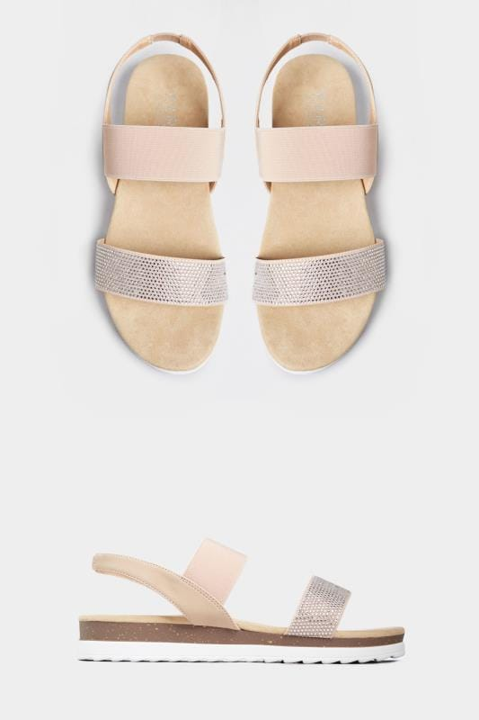 Wide Fit Sandals Nude Embellished Comfort Sandals In Extra Wide Fit