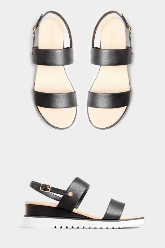 Black Sporty Wedge Sandals In Extra Wide Fit