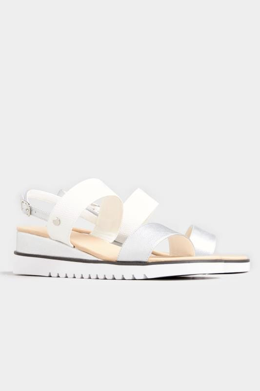 White & Silver Sporty Wedge Sandals In Extra Wide Fit