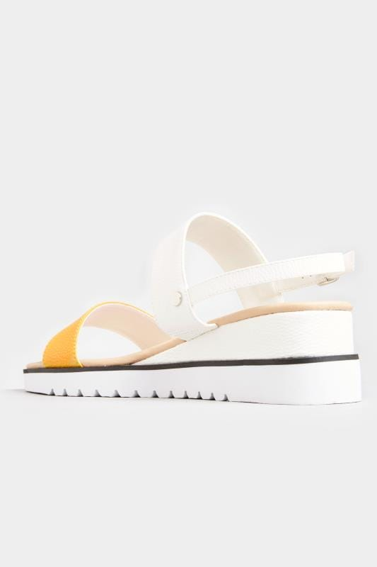 Yellow & White Sporty Wedge Sandals In Extra Wide Fit