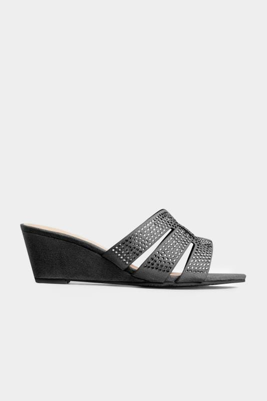 Black Diamante Wedge Mules In Extra Wide Fit