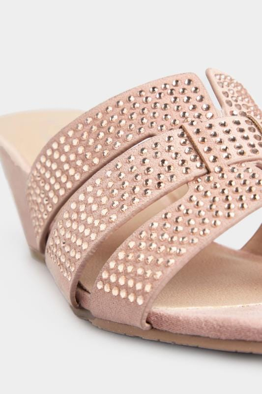 Pink Diamante Wedge Mules In Extra Wide Fit