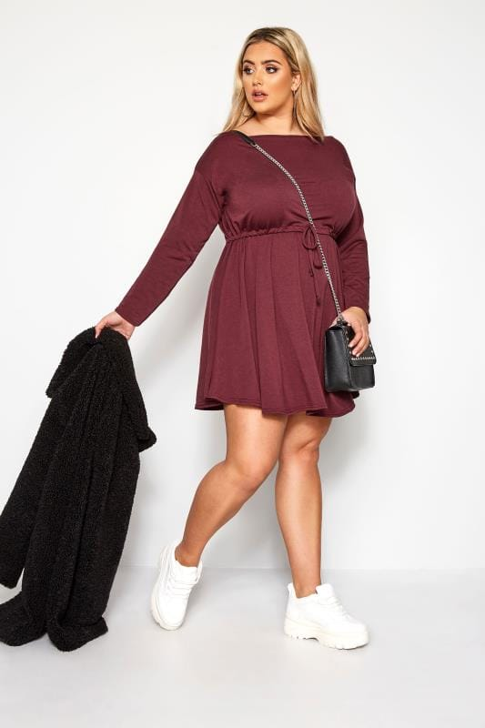 Plus Size Casual Dresses LIMITED COLLECTION Berry Red Off The Shoulder T-Shirt Dress
