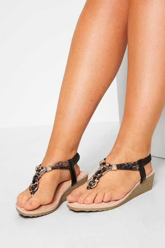 Wide Fit Sandals Black Twist Gold Tone Heeled Sandals In Extra Wide Fit