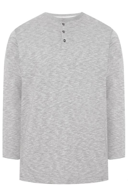 Plus Size Sweatshirts OLD SALT Grey Marl Grandad Collar Sweatshirt