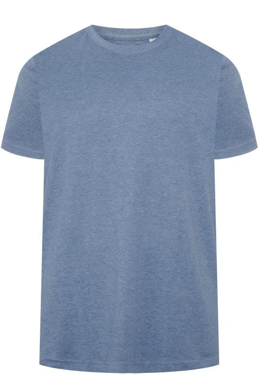 BAR HARBOUR Blue Marl Plain Crew Neck T-Shirt