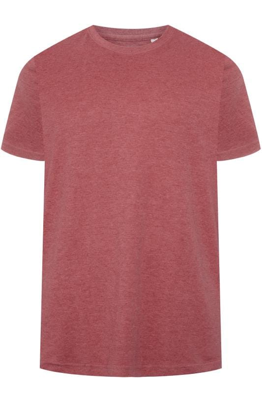 Plus Size T-Shirts BAR HARBOUR Red Marl Plain Crew Neck T-Shirt