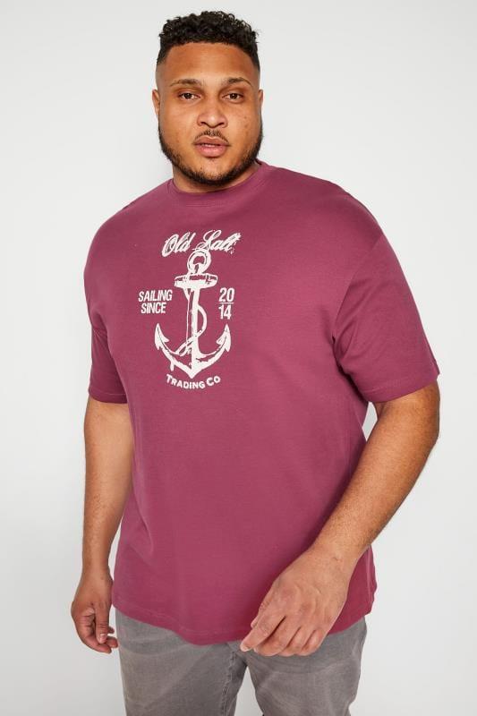 Plus Size Beauty OLD SALT Burgundy Anchor Graphic T-Shirt